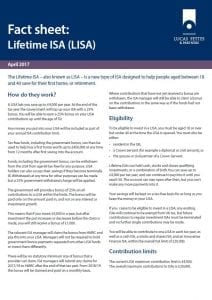 Lifetime ISA FACT SHEET